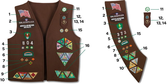 girl guides badge placement on sash canada